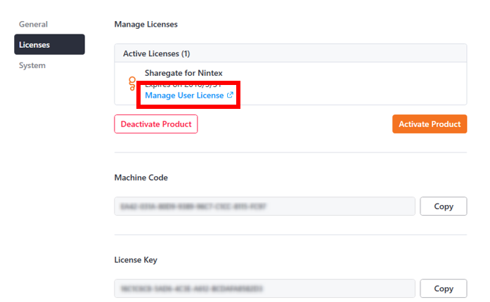 Sharegate Manage User License