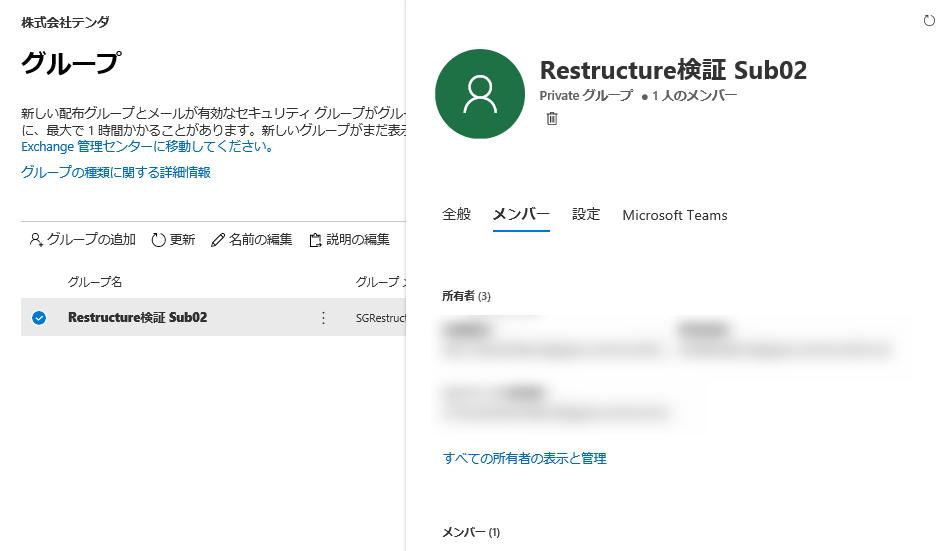 Office 365グループ「SGRestructureSub02」
